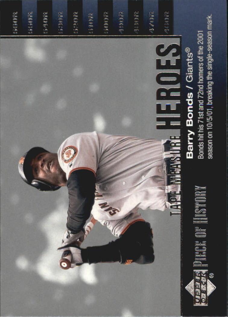 2002 UD Piece of History Tape Measure Heroes #TM25 Barry Bonds