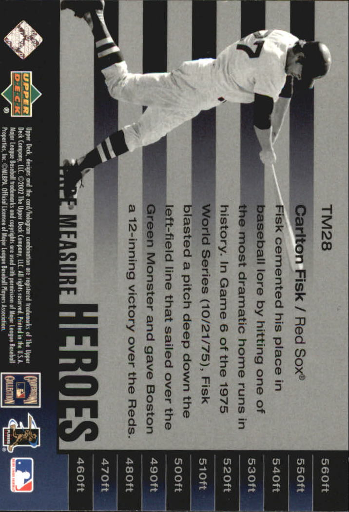 2002 UD Piece of History Tape Measure Heroes #TM28 Carlton Fisk back image
