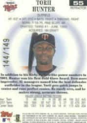 2002 Topps Pristine Refractors #55 Torii Hunter back image