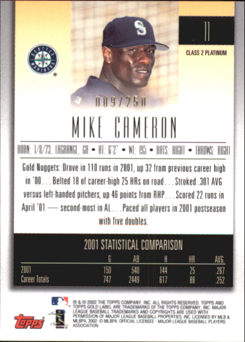 2002 Topps Gold Label Class 2 Platinum #11 Mike Cameron back image
