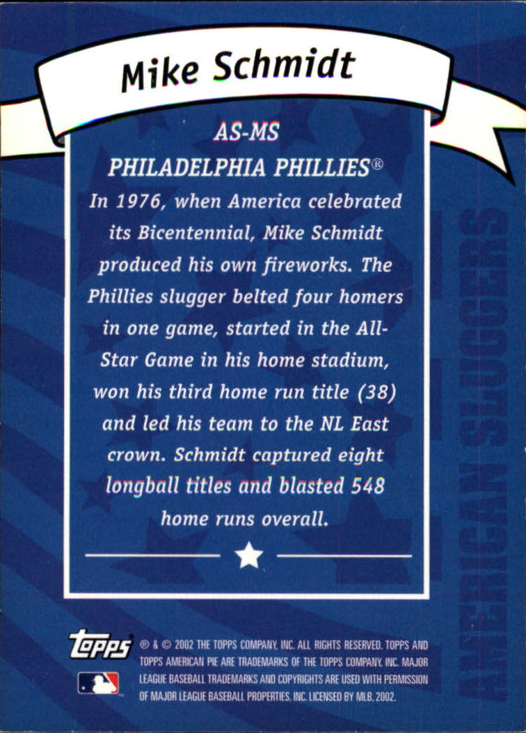 2002 Topps American Pie Sluggers Blue #3 Mike Schmidt back image
