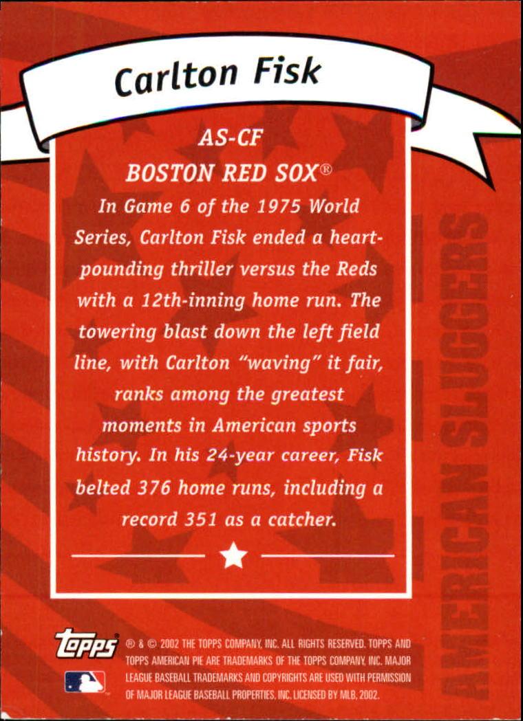 2002 Topps American Pie Sluggers Gold #4 Carlton Fisk back image