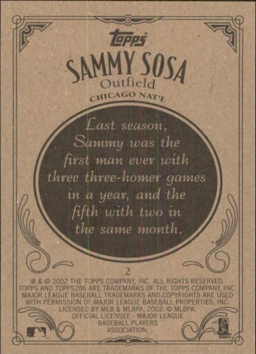 2002 Topps 206 #2 Sammy Sosa back image