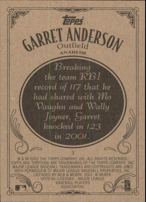 2002 Topps 206 #3 Garret Anderson back image
