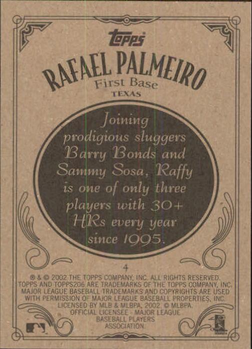 2002 Topps 206 #4 Rafael Palmeiro back image