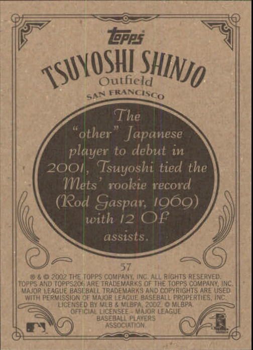 2002 Topps 206 #57 Tsuyoshi Shinjo back image