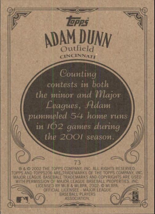 2002 Topps 206 #73 Adam Dunn back image