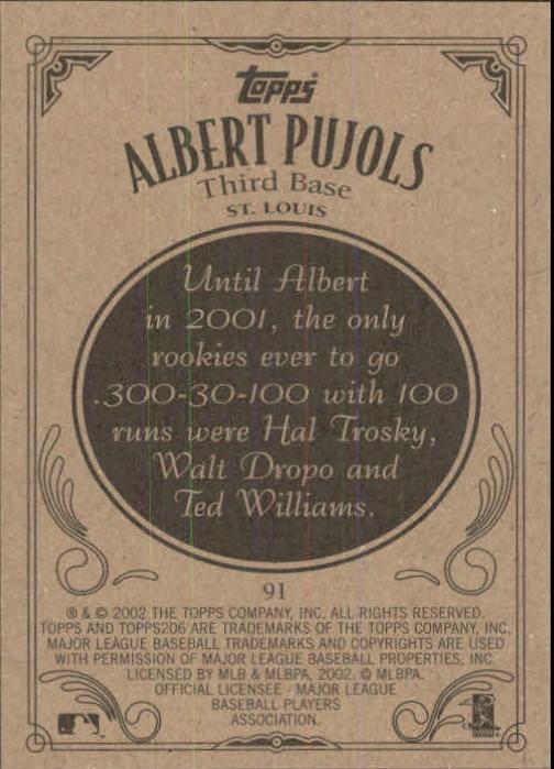 2002 Topps 206 #91 Albert Pujols back image