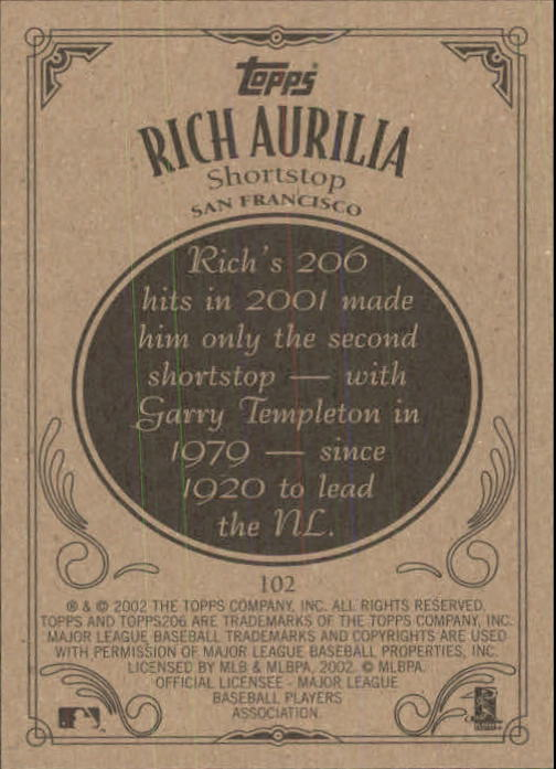 2002 Topps 206 #102 Rich Aurilia back image