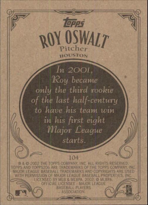 2002 Topps 206 #104 Roy Oswalt back image
