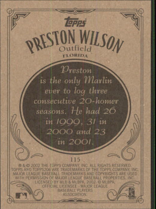 2002 Topps 206 #115 Preston Wilson back image