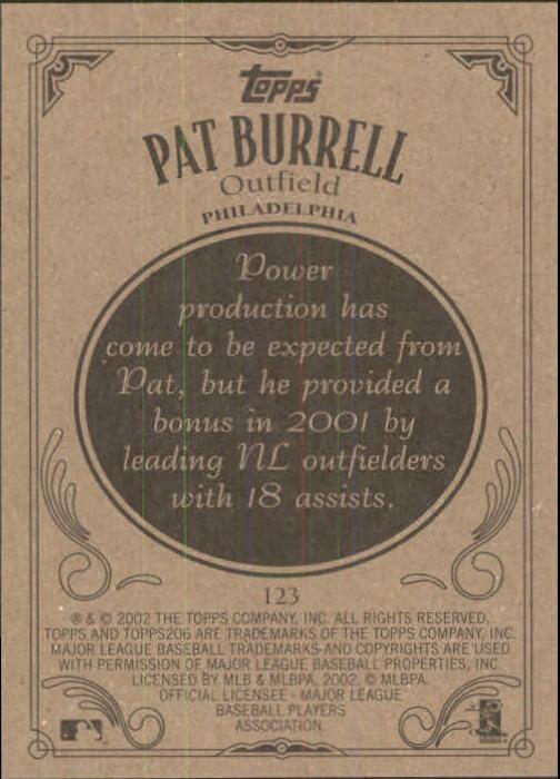 2002 Topps 206 #123 Pat Burrell back image