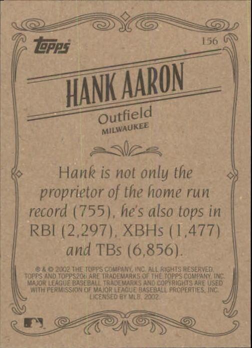 2002 Topps 206 #156 Hank Aaron RET back image