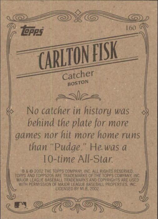2002 Topps 206 #160 Carlton Fisk RET back image