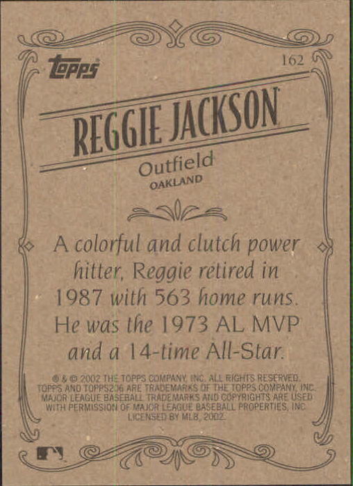 2002 Topps 206 #162 Reggie Jackson RET back image