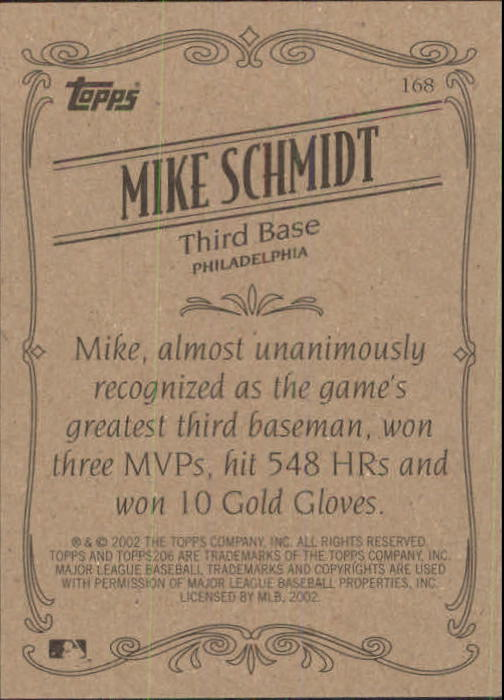 2002 Topps 206 #168 Mike Schmidt RET back image
