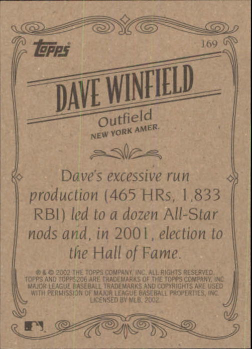 2002 Topps 206 #169 Dave Winfield RET back image