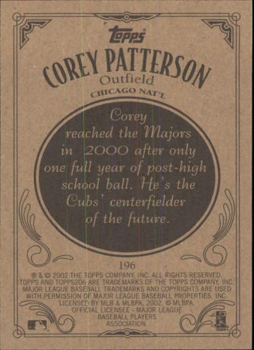 2002 Topps 206 #196A Corey Patterson Blue Jsy back image