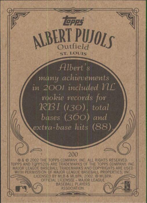 2002 Topps 206 #200A Albert Pujols Red Jsy back image