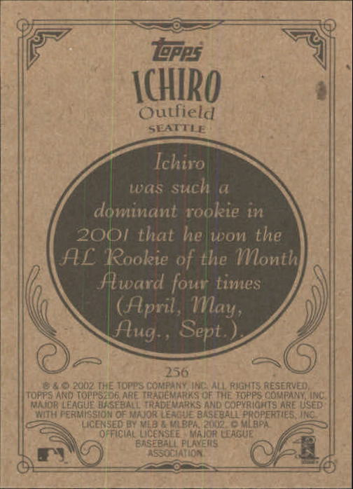 2002 Topps 206 #256A Ichiro Suzuki Blue Jsy back image