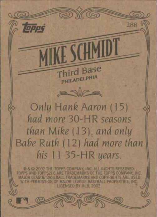 2002 Topps 206 #288 Mike Schmidt RET back image