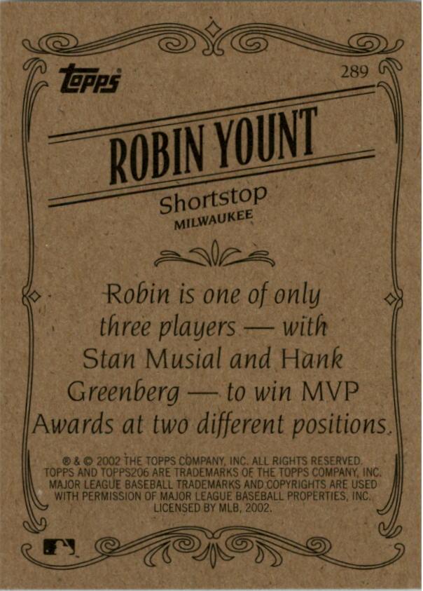 2002 Topps 206 #289B Robin Yount P'stripes RET back image
