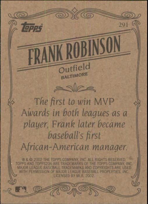 2002 Topps 206 #291 Frank Robinson RET back image