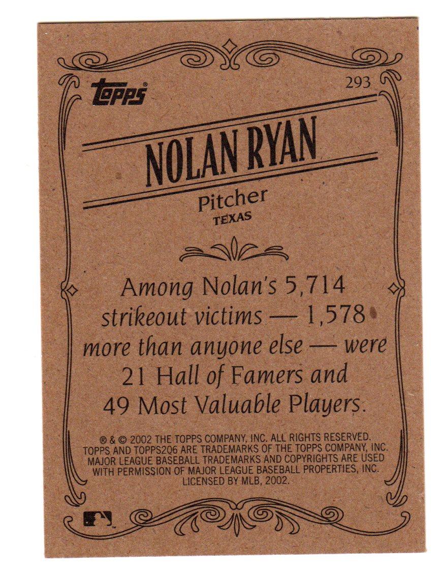 2002 Topps 206 #293B Nolan Ryan Rangers RET back image