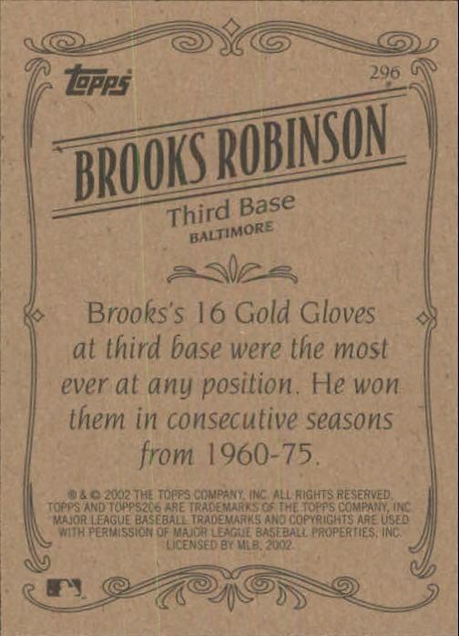 2002 Topps 206 #296 Brooks Robinson RET back image