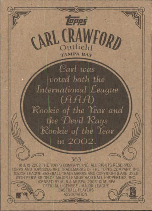 2002 Topps 206 #363 Carl Crawford back image