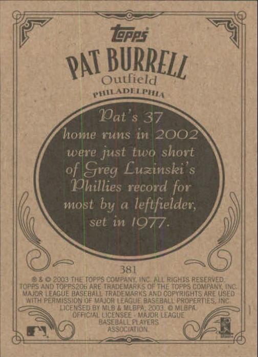 2002 Topps 206 #381 Pat Burrell back image