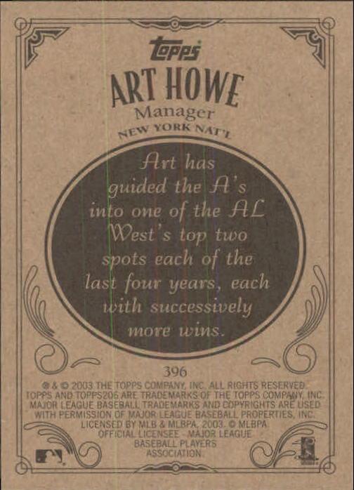 2002 Topps 206 #396 Art Howe MG back image