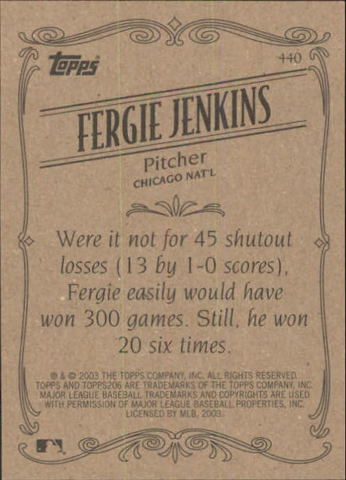 2002 Topps 206 #440 Fergie Jenkins RET SP back image