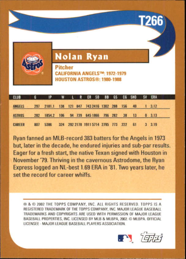 2002 Topps Traded #T266 Nolan Ryan WW back image