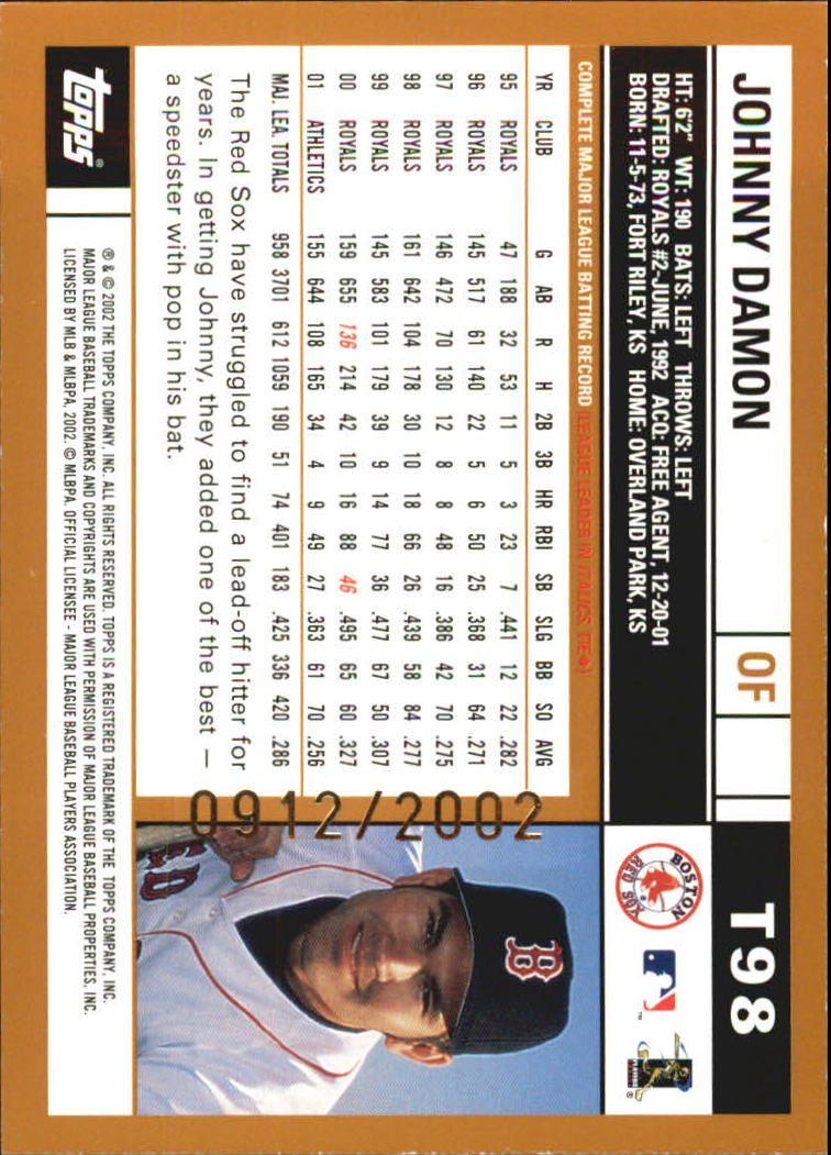 2002 Topps Traded Gold #T98 Johnny Damon back image