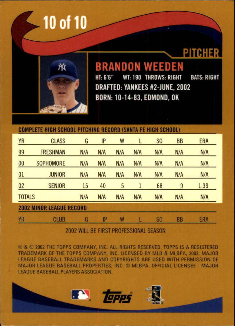 2002 Topps Draft Picks #10 Brandon Weeden back image
