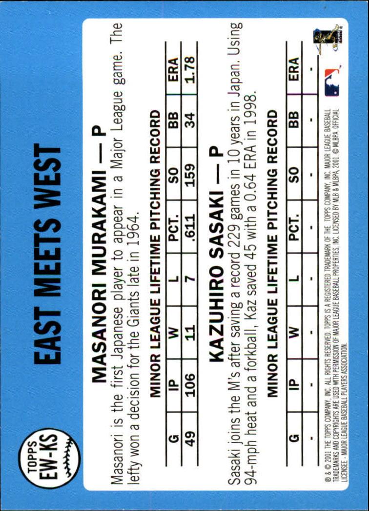 2002 Topps East Meets West #EWKS K.Sasaki/M.Murakami back image