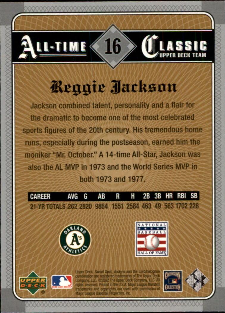 2002 Sweet Spot Classics #16 Reggie Jackson back image
