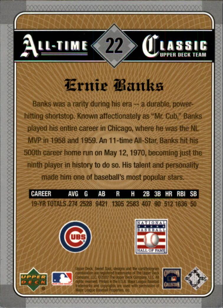 2002 Sweet Spot Classics #22 Ernie Banks back image