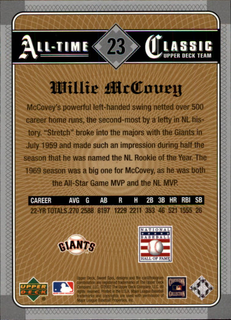 2002 Sweet Spot Classics #23 Willie McCovey back image