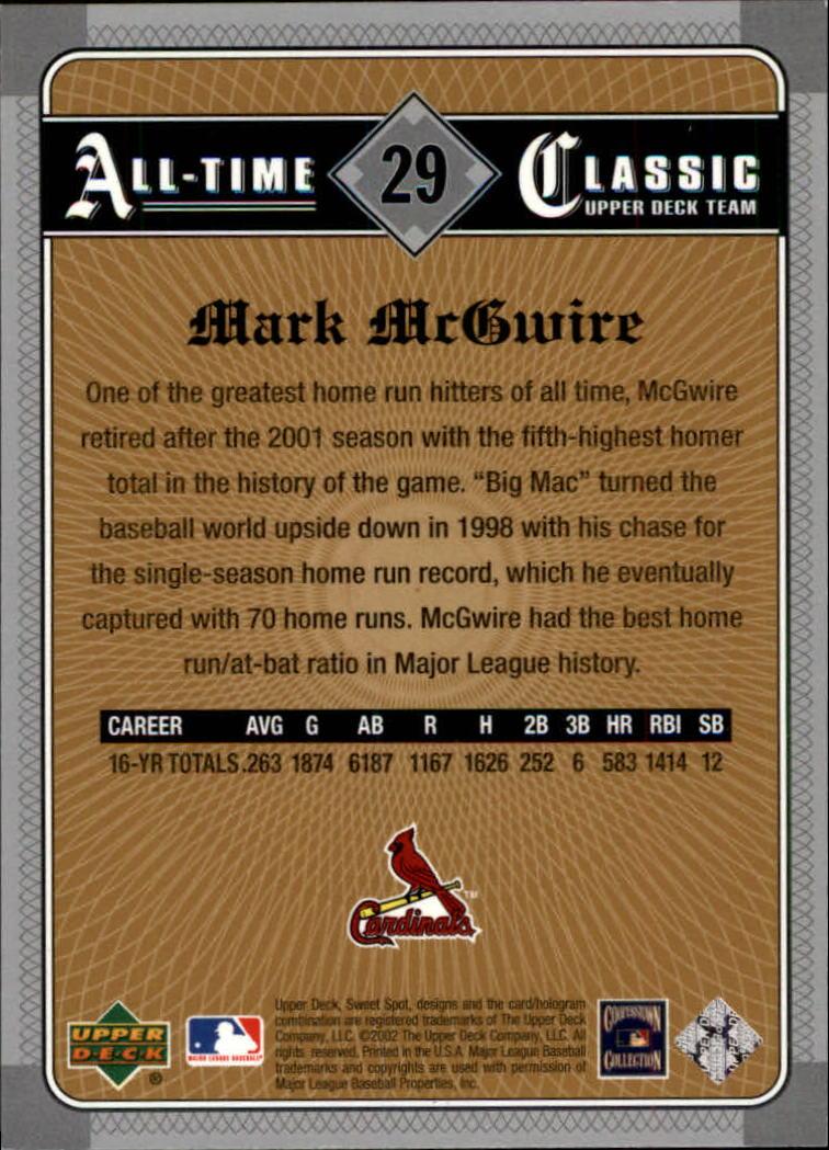 2002 Sweet Spot Classics #29 Mark McGwire back image