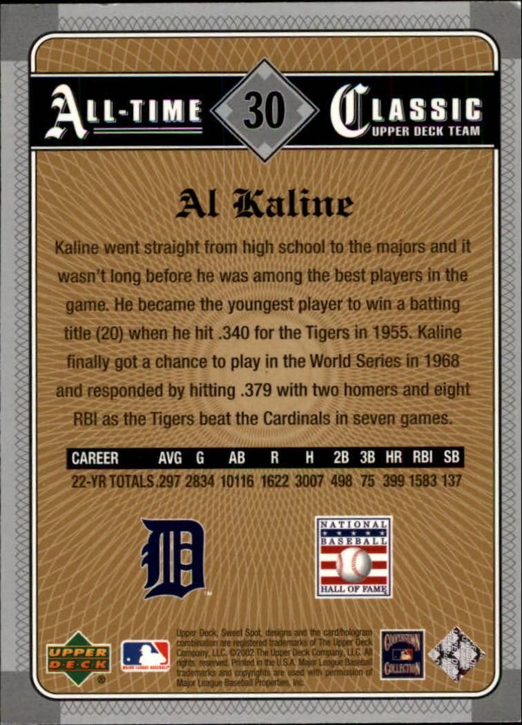 2002 Sweet Spot Classics #30 Al Kaline back image