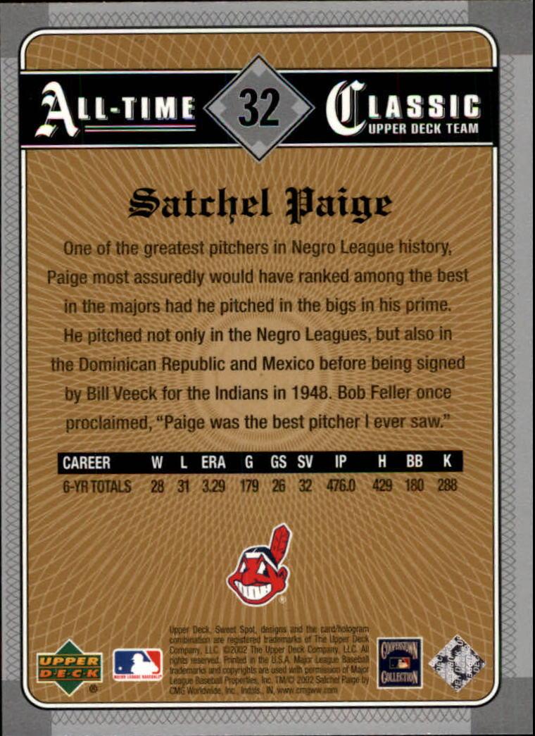 2002 Sweet Spot Classics #32 Satchel Paige back image