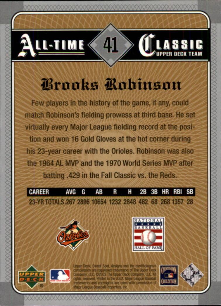 2002 Sweet Spot Classics #41 Brooks Robinson back image