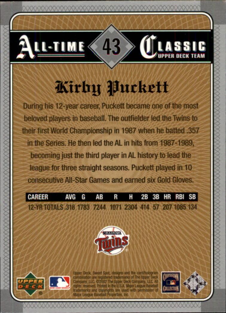 2002 Sweet Spot Classics #43 Kirby Puckett back image