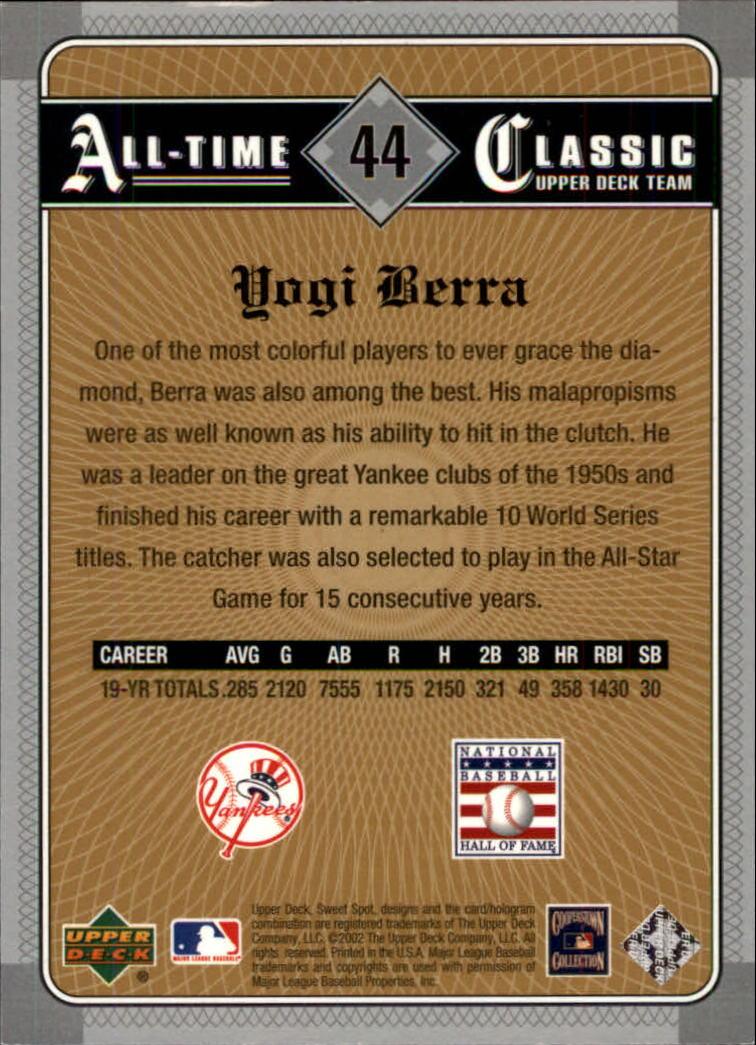 2002 Sweet Spot Classics #44 Yogi Berra back image