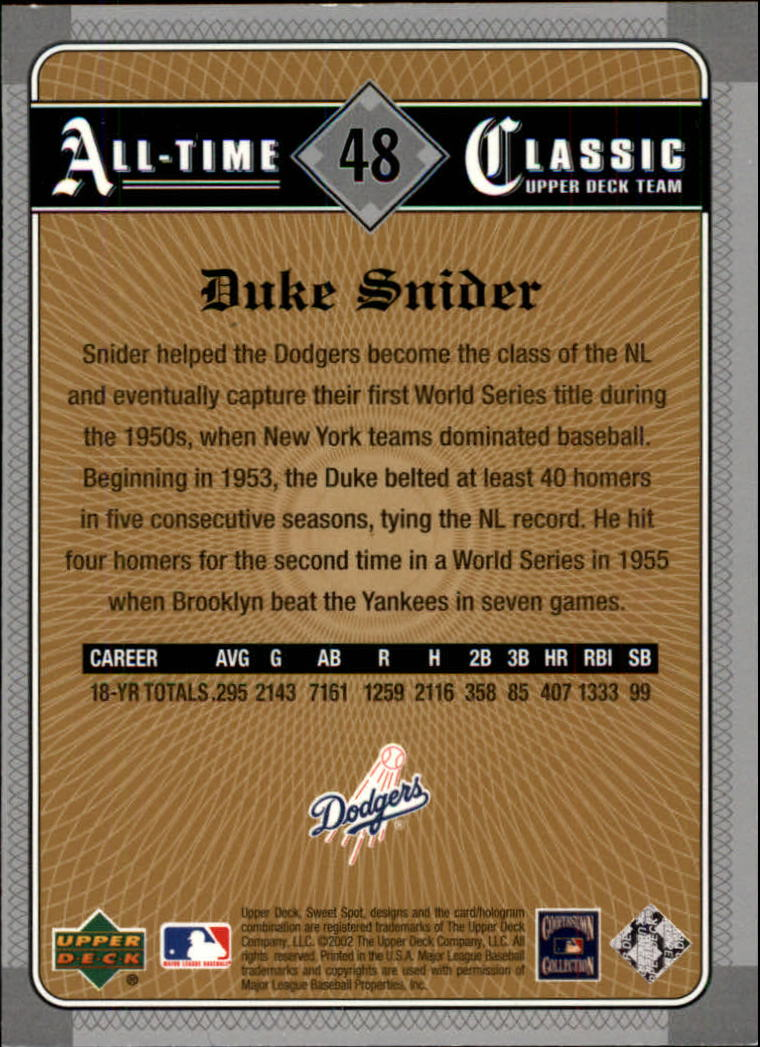 2002 Sweet Spot Classics #48 Duke Snider back image