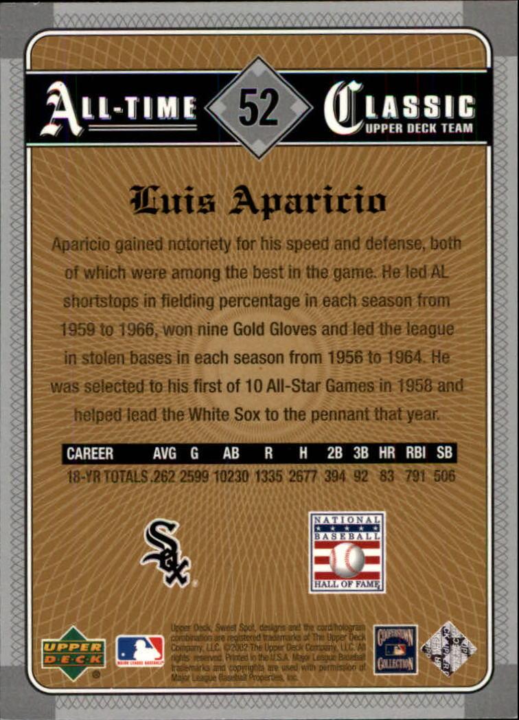 2002 Sweet Spot Classics #52 Luis Aparicio back image