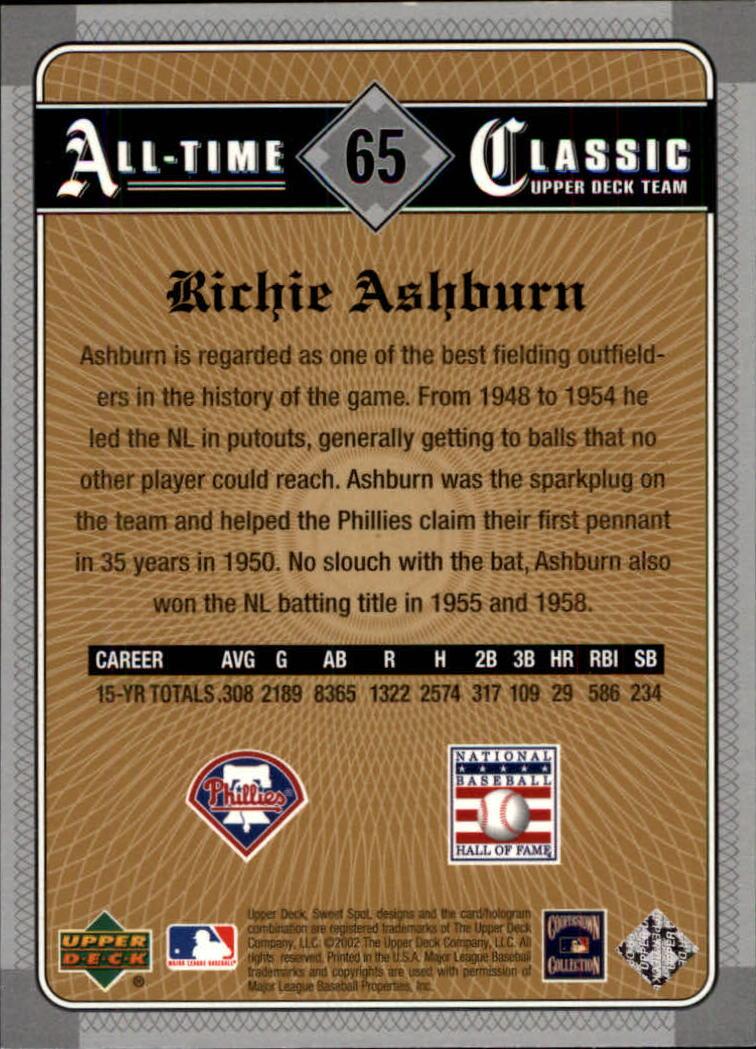 2002 Sweet Spot Classics #65 Richie Ashburn back image