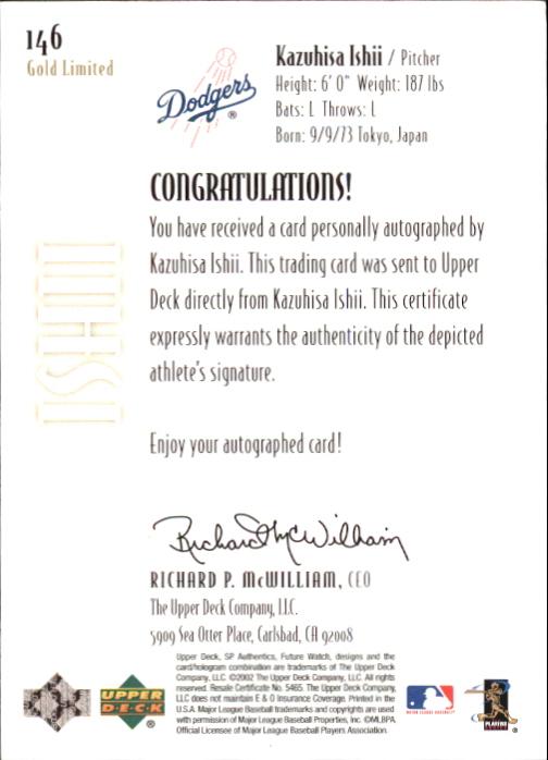 2002 SP Authentic Limited Gold #146 Kazuhisa Ishii FW AU back image